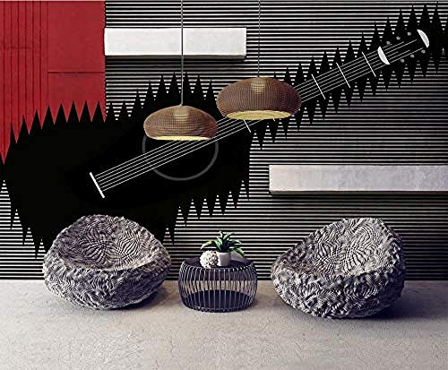 ZJfong Photo Wallpaper 3D Effect Behang Muziek Mode Abstract Gitaar Ontwerp muurschilderingen Behang Decoratie 70 cm.