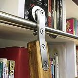 Herraje para Puerta Corredera Kit 6.6ft-20ft Biblioteca de escaleras deslizantes Juego completo de riel rodante de hardware (sin escalera), Riel de tubo redondo de acero inoxidable para el hogar / int