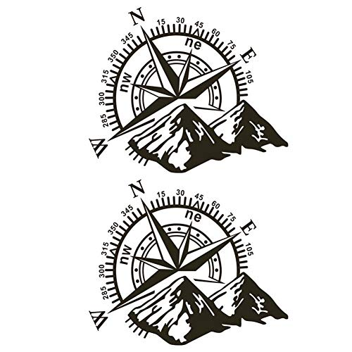 circulor 2 Pcs Pegatina Coche, Etiqueta engomada del Coche Rosa de los Vientos Navegar montaña calcomanía De Etiqueta De Vinilo Campo a través - 48X34cm