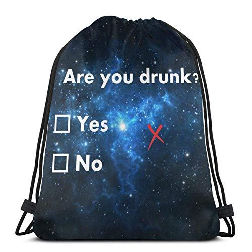Sind Sie betrunken Lustige Bier Trinken Kordelzug Rucksack für Damen Kordelzug Taschen Gym Bag Sack Sackpack