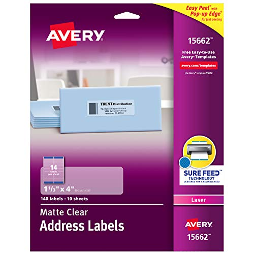 """AVERY Clear Easy Peel Address Labels for Laser Printers 1-1/3"""" x 4"""", Box of 140 (15662)"""