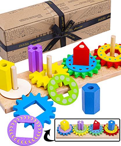 Juguetes Montessori de Madera de Jaques de Londres - Juguemos al Rompecabezas del Engranaje - Juguetes niños pequeños y Juguetes para bebés Desde 1795