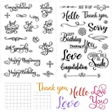 4 Pieces Crafts Words Clear Stamps Blessing Words Stamp Silicone Stamp Cards and Acrylic Stamp Blocks Tools with Grid Lines for Card Making Decoration and DIY Scrapbooking