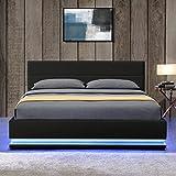 ArtLife LED Polsterbett Toulouse 140 × 200 cm mit Matratze, Lattenrost & Bettkasten - Kunstleder Bezug & Holz Gestell – schwarz – Bett Jugendbett - 2