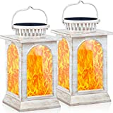 TomCare Solar Lights Flickering Flame Metal Solar Lantern Outdoor Hanging Decorative Lanterns L…