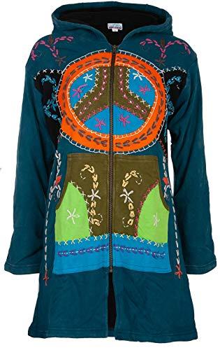 Michael Heinen Hippiemantel Patchworkmantel Damen Model Long Coat Innenfutter aus Fleece Goa-Jacket Cutwork Kapuzen-Sweatmantel individuell Handarbeit aus Nepal