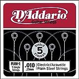 D'Addario PL010-5 Plain Steel Guitar Single String, .010 5-pack...