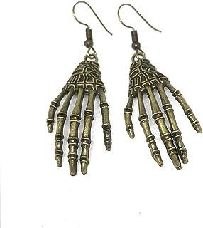 LOGU Punk Earrings Halloween Retro Carving Bone Skull Skeleton Hand Earrings Big Punk Men And Women Earrings (Color : Grey)