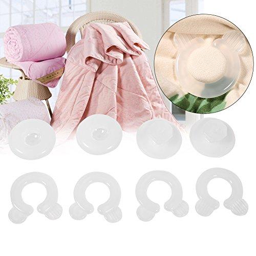 Cafopgrill Couette Housse Clips, 4 Pcs Lit Couette Couette Housse Clips Attaches Chambre Literie Couettes Fixation Titulaire Pince en Plastique pour la Maison