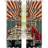 Cortina aislada para sombreado, para reparación de garaje, publicidad, automóvil, vehículo rústico, arte nostálgico, 52 x 95, para sala de estar o dormitorio, color rojo y gris