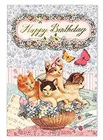 キャット立体グリーティングカード 猫 花 カゴ 蝶々【お誕生日】