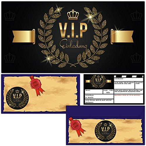 V.I.P. EINLADUNG Set (12 Karten + 12 passende Umschläge) Premium Einladungskarten edel in Schwarz & Gold ideal für VIP Party, Event, Einweihung, Geburtstag für Jungen, Mädchen und Erwachsene