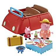 Push along classic car with music and sound effects! Includes exclusive Peppa and Mummy Pig figures in picnic outfits! Includes picnic hamper, blanket, BBQ, bottle and 2 plates! Open the boot to find space to store everything inside! For ages 3 years...