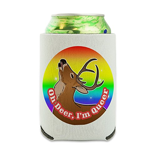 Oh Deer I'm Queer Rainbow Pride Gay Lesbian Funny Can Cooler - Drink Sleeve Hugger Collapsible Insulator - Beverage Insulated Holder