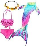 iLyberkiok Cola de Sirena 4 Piezas Trajes de Baño para Niñas Bikini de Natación Traje de Baño Regalo de Cumpleaños de Niña 3-12 años (sin monoaleta) (DH52+WJF48+Y, 5-6 años)