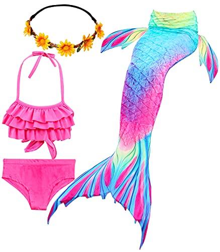 iLyberkiok Cola de Sirena 4 Piezas Trajes de Baño para Niñas Bikini de Natación Traje de Baño Regalo de Cumpleaños de Niña 3-12 años (sin monoaleta) (DH52+WJF48+Y, 3-4 años)