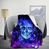 JIMICOW Sugar Skull Under Space Novelty Fleece Blanket Soft Plush Flannel Throws Blankets for Couch Bed Sofa 50X40 Inch - All Season Lightweight, Warm, Cozy