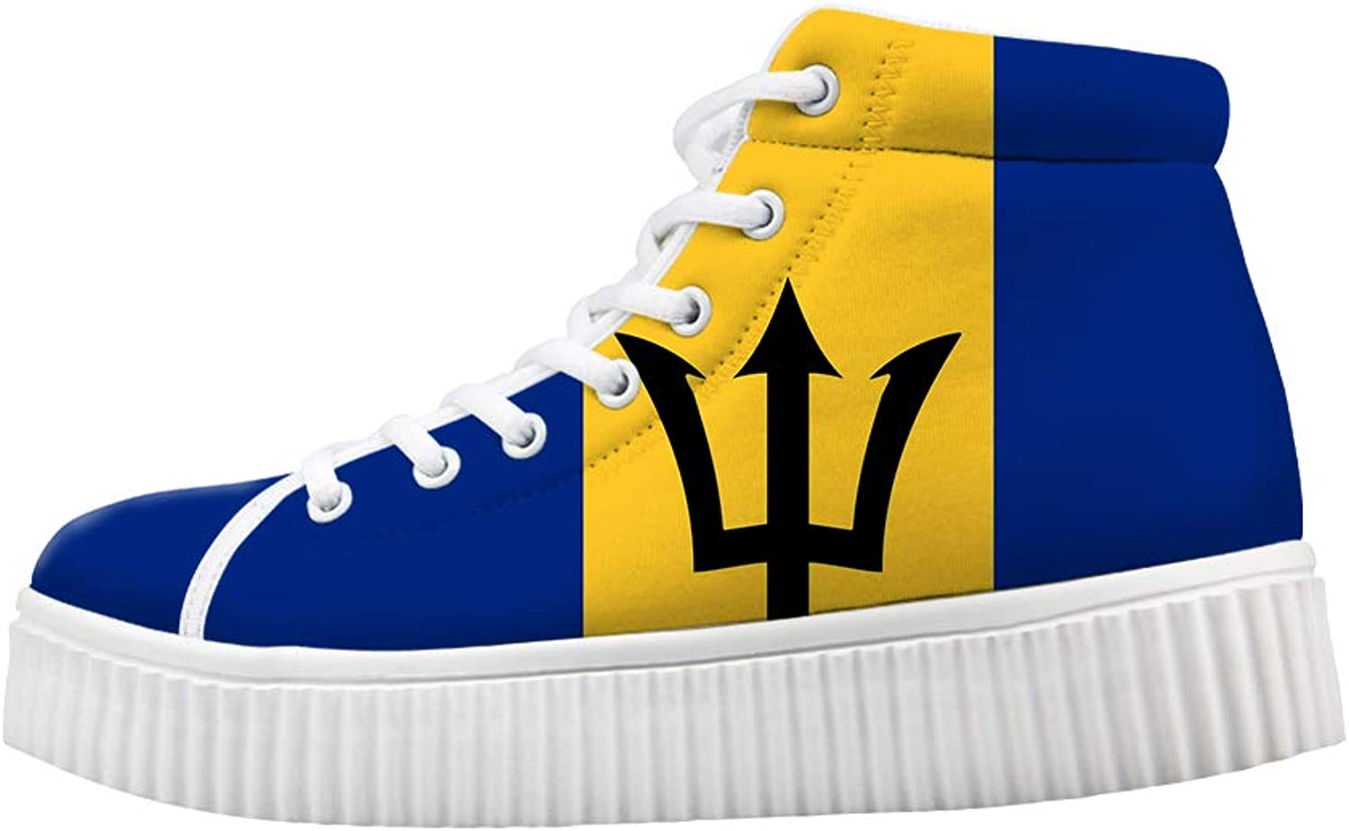 Owaheson Platform Lace up Sneaker Casual Chunky Walking shoes High Top Women Trident Barbados Flag