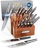 DALSTRONG - Juego de 18 bloques de cuchillos - Serie Crusader - Acero inoxidable alemán forjado Thyssenkrupp de alto carbono - w/vaina magnética - Certificado NSF