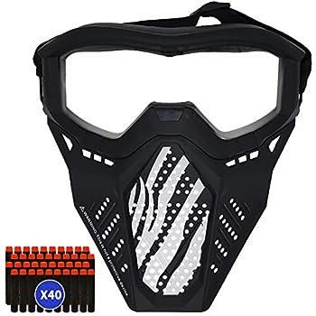 Surper Tactical Mask Compatible with Nerf Rival Apollo Zeus Khaos Atlas Artemis Blasters Rival Mask  Black+40darts