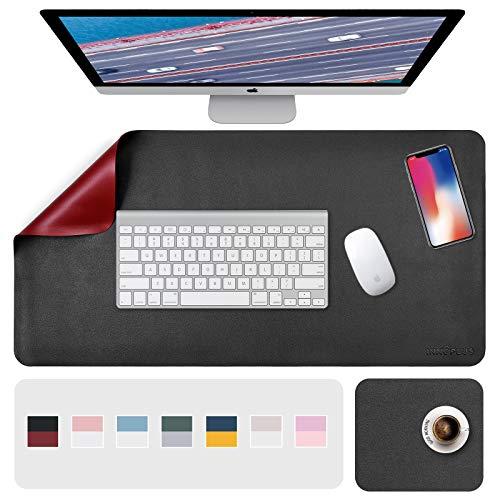 Schreibtischunterlage, Mousepad,Mauspad 2 Pack 80 x 40cm +20 x 28 cm , Schreibtischunterlage Leder, Bürotisch Unterlage, Laptop Unterlage Kinder, XXL Gaming Schreibtischunterlage Black/Red PU, Office