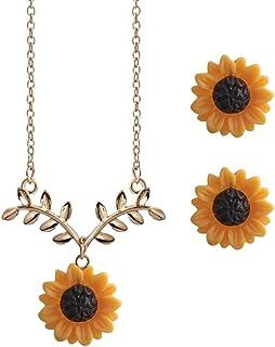 Shuohu - Conjunto de collar y arete para mujer, diseño de hojas de girasol