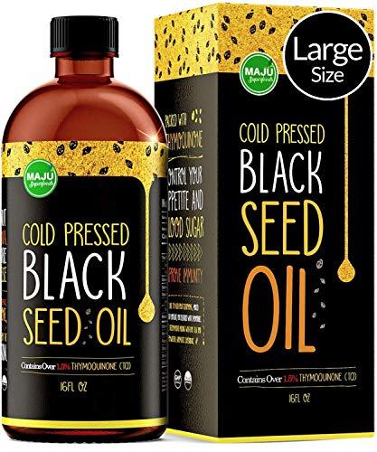 MAJU's Black Seed Oil 16oz: 3x% Thymoquinone, Cold Pressed, no Pesticides, 100% Turkish Black Cumin Nigella Sativa Seed Oil (Better Than Organic), non-GMO, 100% Liquid Pure Blackseed Oil, Glass Bottle