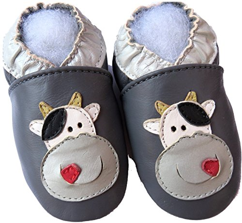 Minishoezoo Soft Sole Baby Leather Shoes Crib for Newborn Toddlers Kids (5-6 T /30-31 US Toddler) Grey