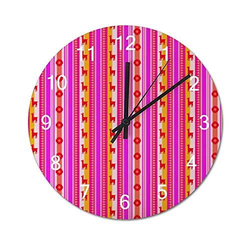 Reloj de Pared de Madera Redondo rústico silencioso sin tictac de 10 Pulgadas Mandala Boho Parallel Horse and Chrysanthemum Vintage Farmhouse Wall Decor para el hogar, la Oficina, la Escuela
