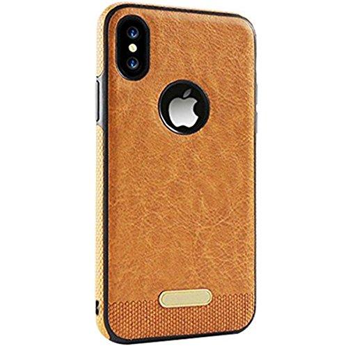 JEPER iPhone X hülle Leder, iPhone X Hülle, 360 Grad Rundum-Schutz Premium PU Ledertasche Handyhülle Schutzhülle Backcover Schale für Apple iPhone X (iPhone X, Brown)