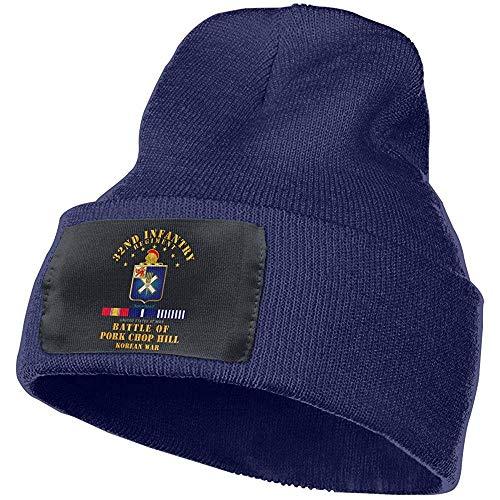 Preisvergleich Produktbild Quintion Robeson Schweinekotelett Hill - 32. Infanterie REGT W SVC Bänder Beanie Hut Warme Kabel Strickmütze Unsexuelle Wintermütze