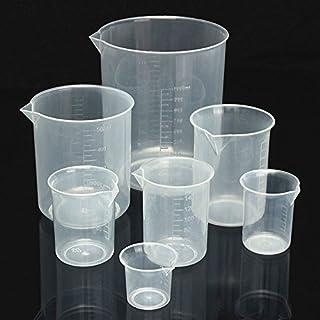 PZRT بسته از 8 ظرفیت شفاف آشپزخانه آزمایشگاه پلاستیکی جامد اندازه گیری جام حذفی
