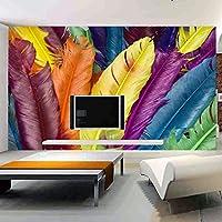 HGFHGD 壁画壁紙モダンカラフルフェザー3Dポスター壁アート壁画リビングルーム寝室家の装飾写真壁紙
