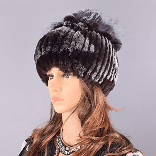 Sombreros para Mujer Gorro de Invierno Tejido para Mujer Gorros de Nieve clidos para Mujer Elegante Gorro de Princesa Gorros-Color 12-56-59cm
