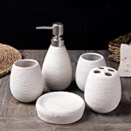 Fashion Textured Bathroom Accessories Set with Ceramic Soap Dish,Soap Dispenser,Toothbrush Holder & Tumbler (White)