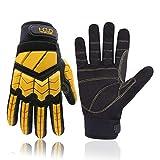 Guantes de trabajo antivibración, guantes de trabajo acolchados con dedos y palma de la mano, guantes de trabajo para hombres de seguridad reductores de impacto (grande, amarillo)