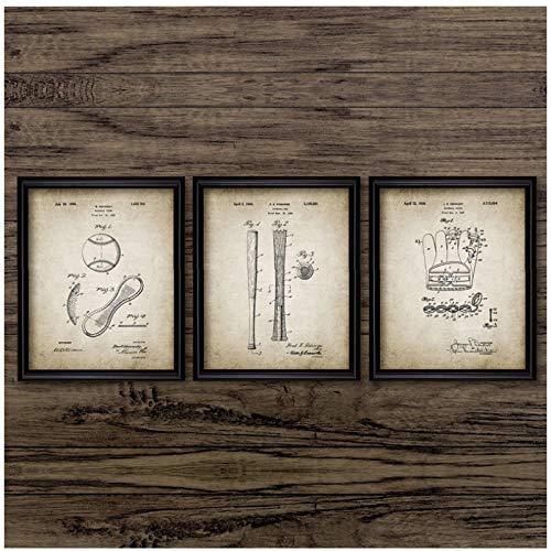 chthsx Vintage Poster Baseball Handschuh Bat Wandkunst Leinwanddruck Baseball Sport Design Kunst Malerei Bild Home Decor 50x70x3Pcscm Kein Rahmen