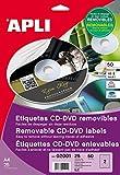APLI 2001 - Etiquetas CD/DVD Removibles tamaño clásico Mate 10 Hojas I/L/C...