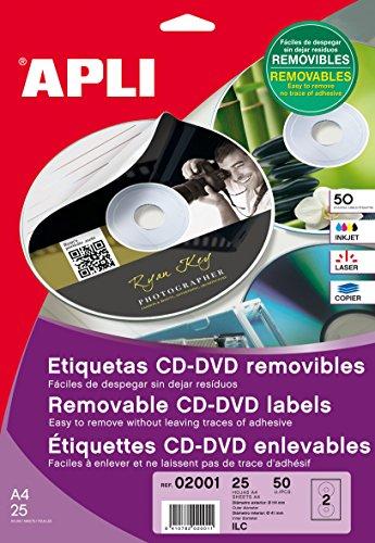 APLI 2001 - Etiquetas CD/DVD Removibles tamaño clásico Mate 10 Hojas I/L/C
