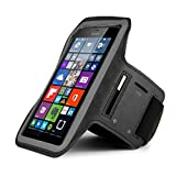 Premium Workout Running Sports Gym Armband Pouch Case for Microsoft Lumia 950 XL / 640 XL/Motorola Droid Turbo 2 / LG V10 (Black)