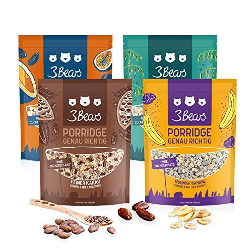 3Bears Porridge Fabelhaftes 4er-Pack, 4 x 400g I Leckere Auswahl für ein gesundes Frühstück, ohne Zusatz von Zucker I In den Sorten Feiner Kakao, Fruchtige Kokos, Mohnige Banane, Kerniger Klassiker