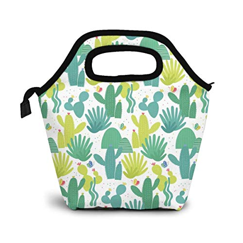 Small Fresh Cactus Reusable Lunch Bag Lunch Bag Picnic Office Outdoor Thermal Carrying Gourmet Lunchbox Desert Green Plants Lunch Tote Container Tote Cooler Warm Pouch for Men,Women