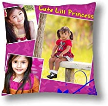 Pix Art Decorative Personalized Poly Cotton Cushion for Your Little Princess (12X12 Inch; Multicolour)