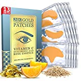 13 x 13 Under Eye and Forehead 24K Gold Patches - Anti-Aging Collagen Hyaluronic Acid Pads Helps Reducing Puffiness & Wrinkles & Dark Circles Bags - Gel Bags With No Parabens, Hidden Chemicals, Side Effects
