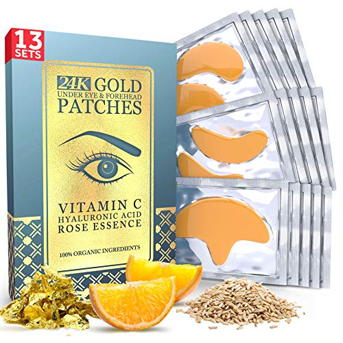 Price comparison product image 13 x 13 24K Gold Under Eye Patches - Forehead Collagen Hyaluronic Acid Pads Helps Reducing Puffiness,  Wrinkles,  and Dark Circles - Artificial Fragrance,  Petroleum,  Alcohol