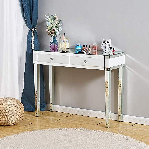 NMDD Mirrored Dressing Table Vanity Table Glass Cosmetic Makeup Table with 2 Drawers for Girl Lady Hallway Console Table Bedroom Dresser Furniture, Dressing Table Only