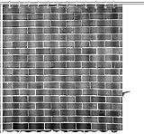 Romance-and-Beauty Cortina de Ducha Pared de ladrillo Vieja reparada como Fondo Blanco Negro Impresión gráfica Tela de poliéster Juegos de decoración de baño con Ganchos 36 X 72 Pulgadas