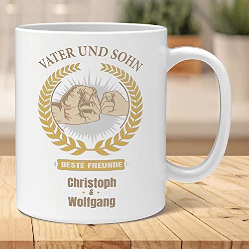 Personalisierte Tasse für den Vatertag   Vater und Sohn   Personalisierter Kaffeebecher mit Wunsch-Namen   Geschenk Kaffeetasse selbst gestalten   Qualitätskeramik Geschenk-Idee