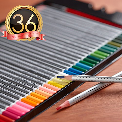 Hero Watercolor Pencils For Art Students and Professionals, Assorted Colors For Sketch Coloring Pages For Kids and Adults, Vibrant Colors For Drawing Books, Set of 36