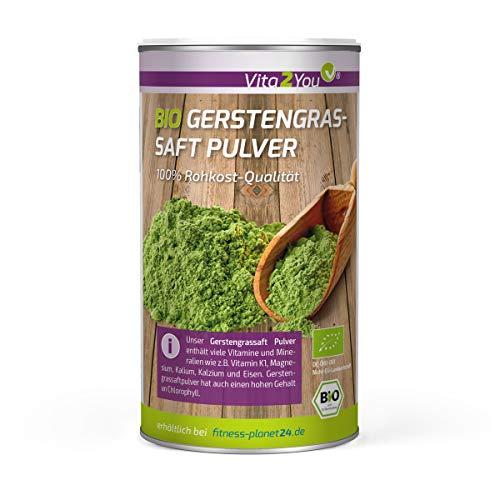Bio Gerstengrassaft Pulver 200g - 100{c65eb9e869d9851469b71aeb92e470b6f269e3bc1d6ac534980aeefd8f82a07a} Rohkost Qualität - echtes Gerstengras Saftpulver gemahlen - Premium Qualität